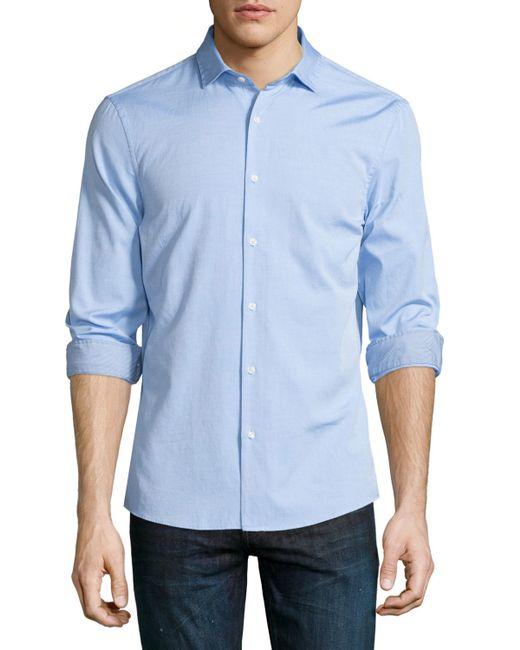 Michael kors slim fit long sleeve oxford shirt in blue for for Men oxford slim fit long sleeve shirt