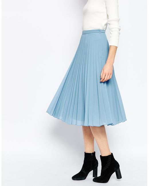 asos pleated midi skirt blue in blue lyst