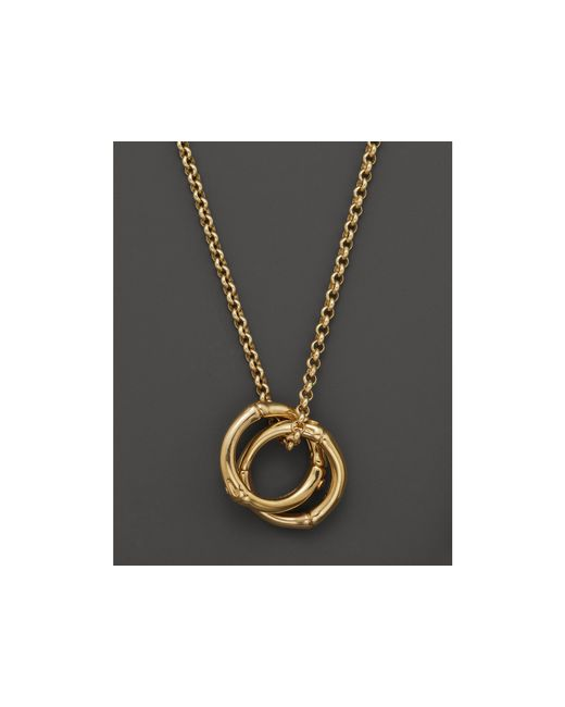 "John Hardy   Metallic Bamboo 18k Gold Small Round Interlinking Pendant On Whisper Chain Necklace, 16""   Lyst"