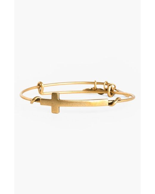 ALEX AND ANI | Metallic 'cross Wrap' Expandable Wire Bangle | Lyst