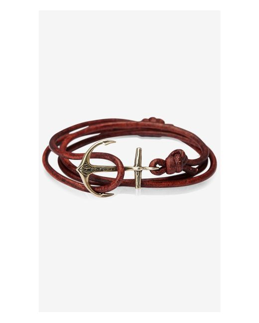 Express | Maritime Silver Anchor Brown Cord Bracelet for Men | Lyst
