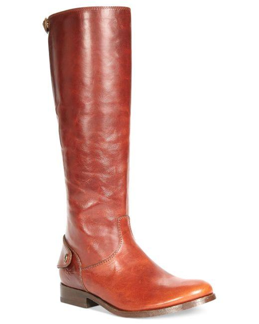 Frye | Brown Women's Melissa Button Back Zip Wide Calf Boots | Lyst