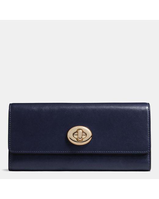 COACH | Blue Turnlock Slim Envelope Wallet In Smooth Leather | Lyst