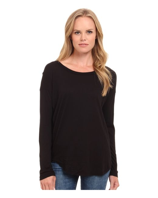 Splendid | Black Drop Sleeve Jersey Top | Lyst