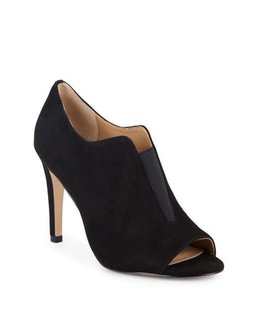 Saks Fifth Avenue | Black Qina Suede Open-toe Booties | Lyst