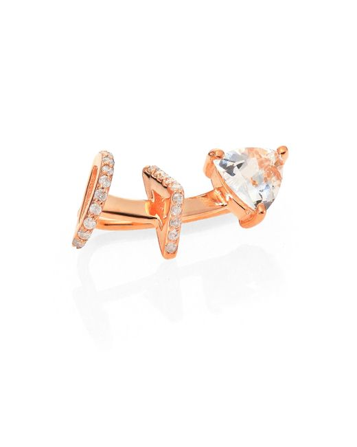 Phyne By Paige Novick | Pink Marta White Sapphire, Champagne Diamond & 14K Rose Gold Single Ear Cuff | Lyst