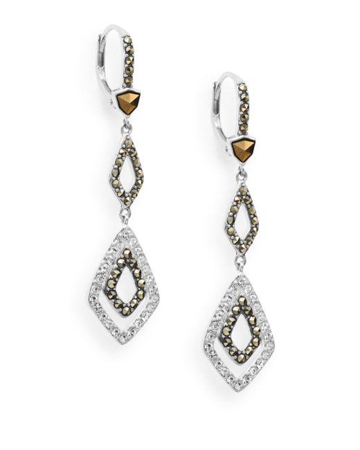 Judith Jack | Metallic Stacked Geometric Link Drop Earrings | Lyst