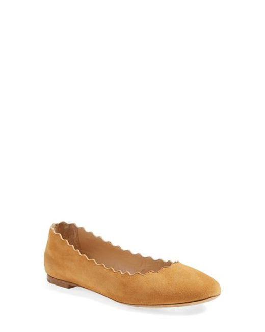 Chloé | Brown 'lauren' Scalloped Ballet Flat | Lyst