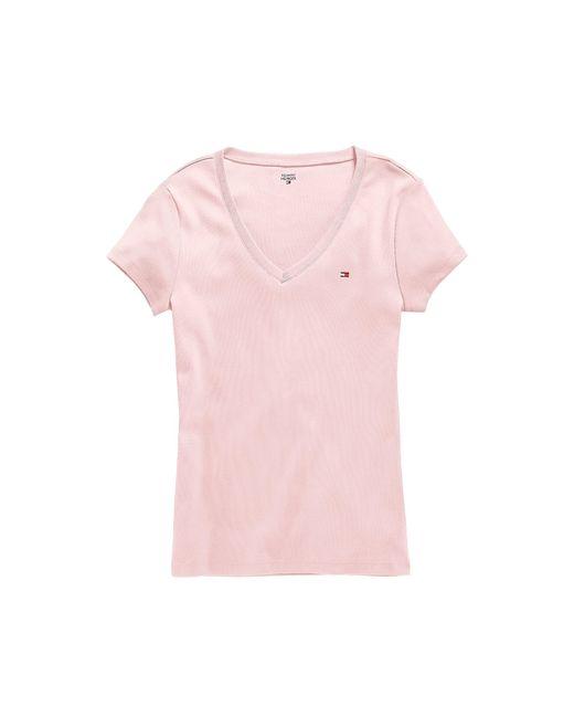tommy hilfiger short sleeve v neck tee in pink ballerina. Black Bedroom Furniture Sets. Home Design Ideas