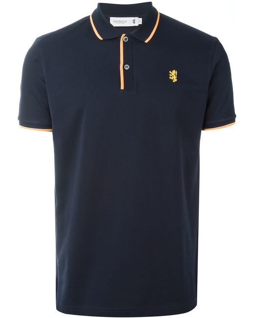 pringle of scotland embroidered logo polo shirt in blue