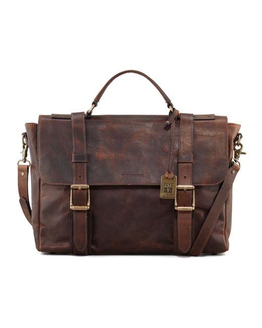 Frye | Brown Logan Antiqued Flap Briefcase for Men | Lyst