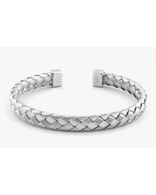 Tateossian | Metallic Bamboo Bracelet In Tightly Weaved Silver With Silver Caps for Men | Lyst
