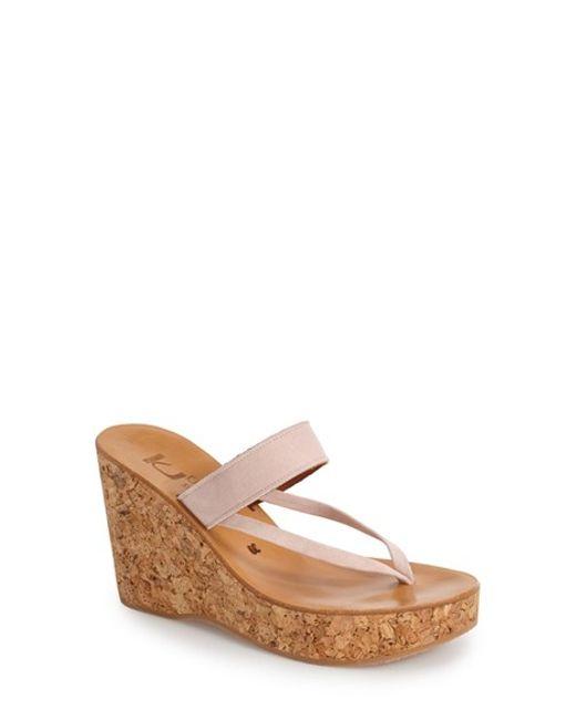 K. Jacques | Natural 'saturnine' Cork Wedge Sandal | Lyst