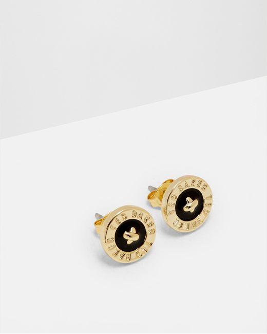 Ted Baker | Black Enamel Button Stud Earrings | Lyst