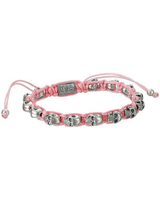 King Baby Studio   Pink Macrame Bracelet W/ Alloy Skulls   Lyst