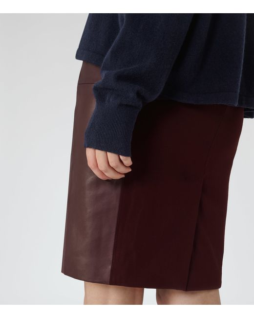 reiss cleo leather panel pencil skirt in purple