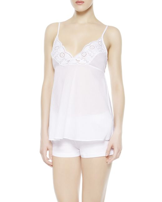La Perla | White Cami Top And Shorts Pajama Set | Lyst