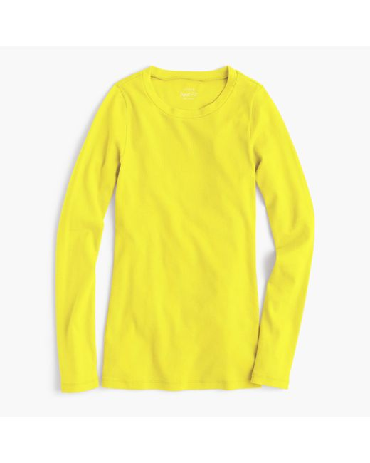 Perfect fit long sleeve t shirt in yellow lemon for Yellow long sleeved t shirt