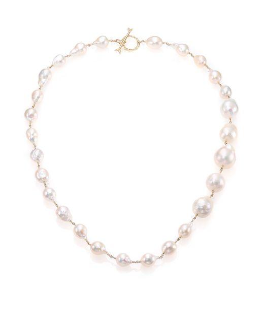 Mizuki | 17mm White Baroque Akoya Pearl, Diamond & 14k Yellow Gold Graduated Necklace | Lyst