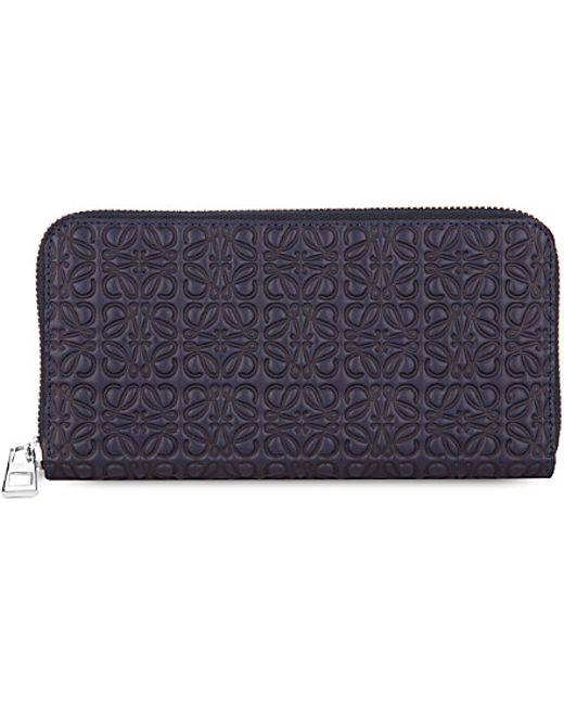 Loewe   Blue Engraved Logo Zip-around Wallet   Lyst
