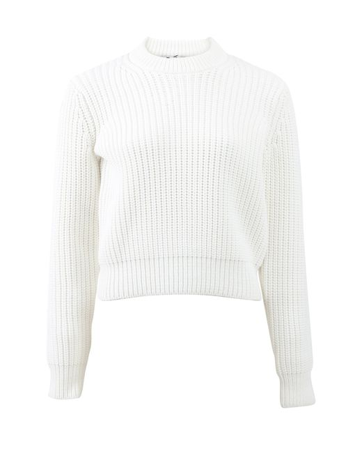 T By Alexander Wang | White Heavy Knit Crop Sweater | Lyst