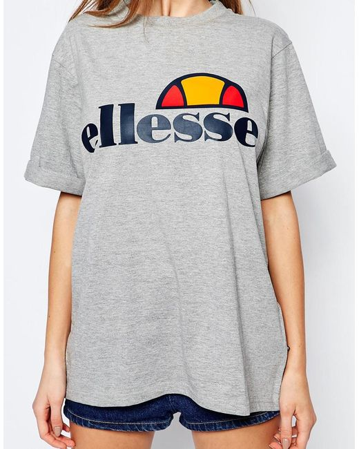 ellesse oversized boyfriend t shirt with front logo in gray greymarl lyst. Black Bedroom Furniture Sets. Home Design Ideas