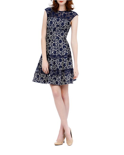 Kay Unger | Blue Bonded Lace Fit And Flare Dress | Lyst