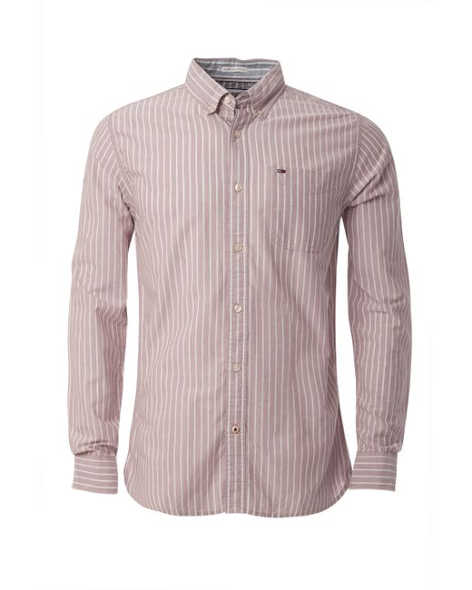Tommy hilfiger oxford striped shirt in red for men save for Tommy hilfiger fitzgerald striped shirt