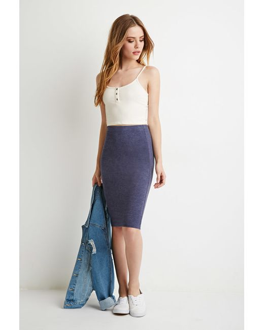Forever 21 | Blue Stretch Knit Pencil Skirt | Lyst