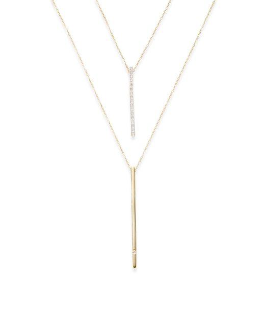 Kacey K   Metallic Diamond & 14k Gold Double Chain Necklace   Lyst