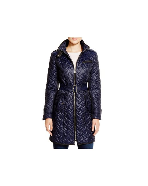 Cole Haan Blue Quilted Coat With Leather Trim