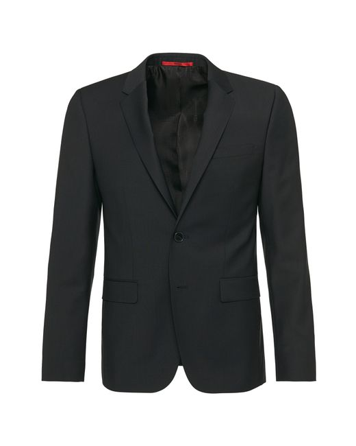 HUGO | Black Slim-fit Jacket In Pure New Wool: 'alans' for Men | Lyst