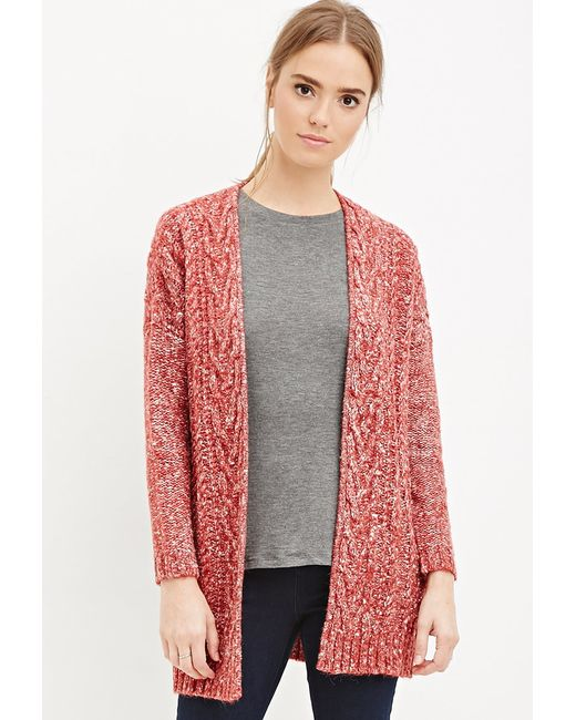 Forever 21 | Red Cable Knit Cardigan | Lyst