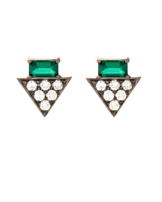 Nikos Koulis   Metallic Diamond, Emerald & White-Gold Earrings   Lyst