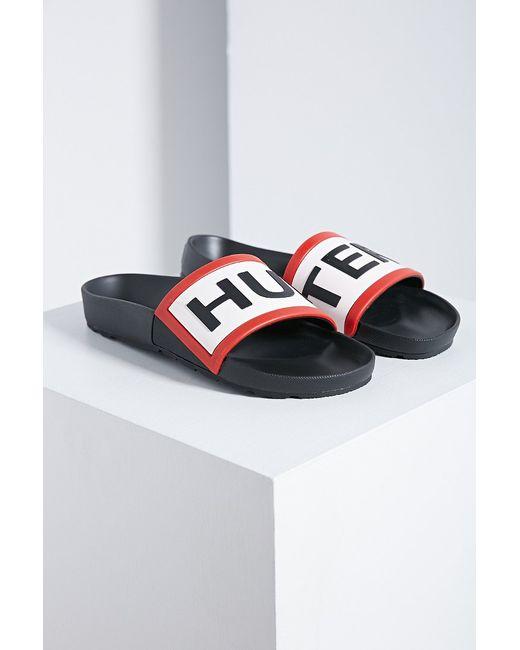 Hunter | Pink Logo Slide Sandal | Lyst