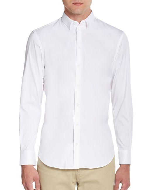 Emporio Armani | White Regular-fit Stretch-cotton Sportshirt for Men | Lyst