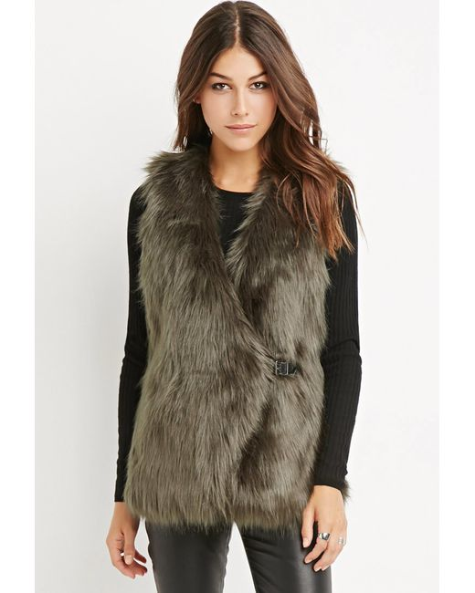 Forever 21 | Green Contemporary Buckled Faux Fur Vest | Lyst
