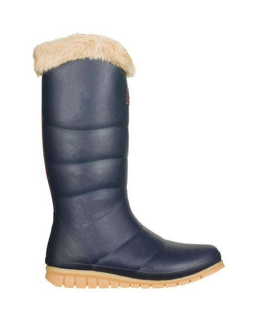 Joules - Blue Downtown Fur Collar Boot - ` - Lyst