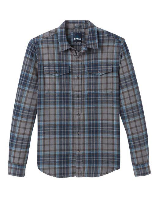 Prana Blue Plano Slim Flannel Shirt for men