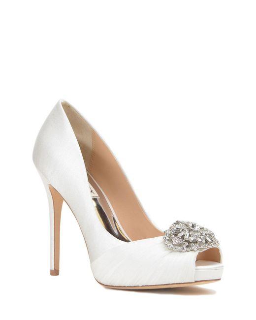 Badgley Mischka | White Desi Embellished Toe Evening Shoe | Lyst