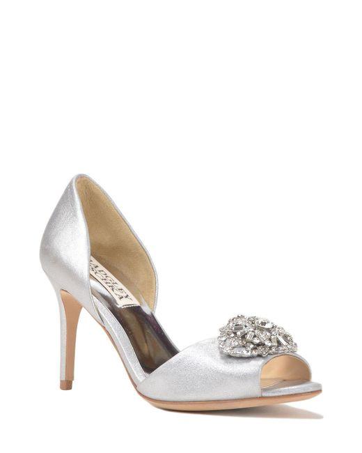 Badgley Mischka | Metallic Dana-ii Embellished Toe Evening Shoe | Lyst