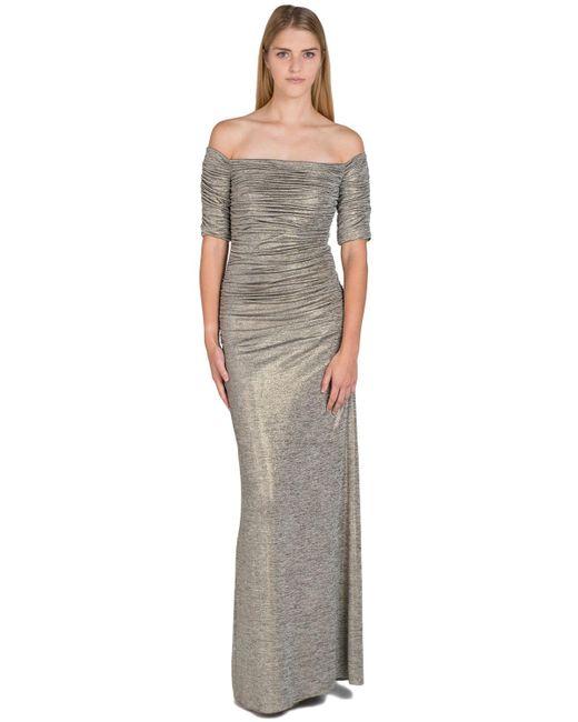 Badgley Mischka | Metallic Foil Jersey Ruched Sleeve Evening Gown | Lyst