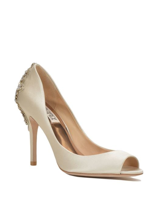 Badgley Mischka   Natural Nilla Embellished Heel Evening Shoe   Lyst