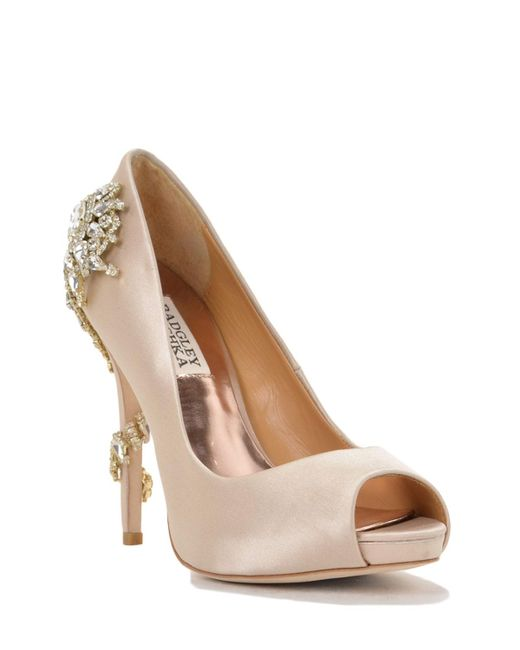 Badgley Mischka | Pink Royal Decorated Heel Evening Shoe | Lyst