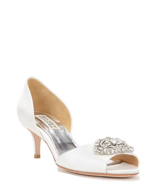 Badgley Mischka | White Petrina D'orsay Decorated Evening Shoe | Lyst