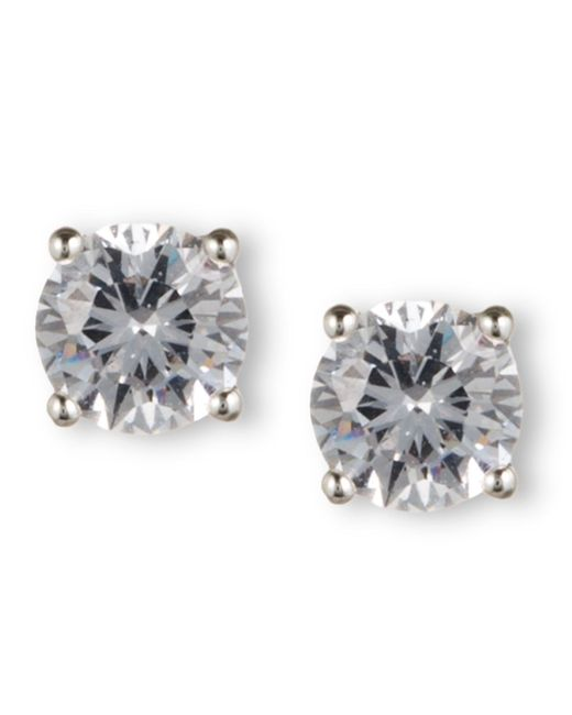 Nine West | Metallic Silver-tone Round-cut Crystal Stud Earrings | Lyst