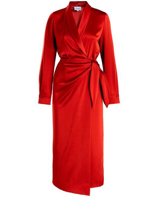 Nanushka - Red Ezra Satin Wrap Dress - Lyst
