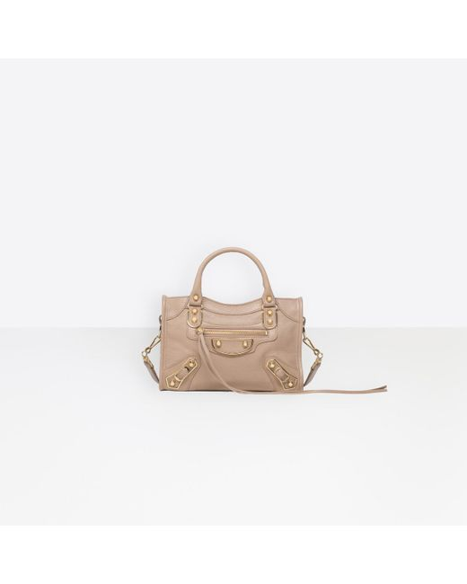 Balenciaga Pink Classic Mini City Metallic-Edge Tote