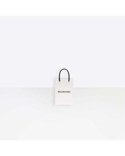 Balenciaga White Shopping Phone Holder Bag