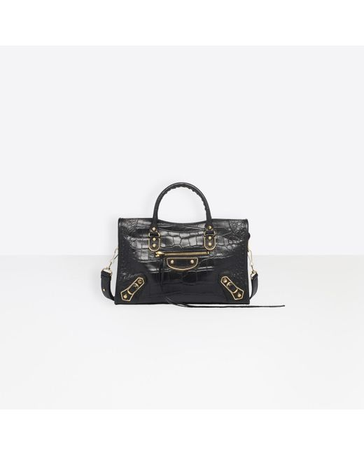Balenciaga Black Classic Metallic Edge City S Crocodile Effect